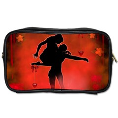 Dancing Couple On Red Background With Flowers And Hearts Toiletries Bags 2 Side by FantasyWorld7
