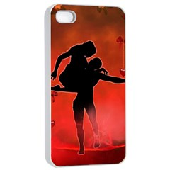 Dancing Couple On Red Background With Flowers And Hearts Apple Iphone 4/4s Seamless Case (white) by FantasyWorld7