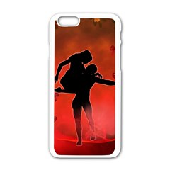 Dancing Couple On Red Background With Flowers And Hearts Apple Iphone 6/6s White Enamel Case by FantasyWorld7