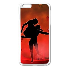 Dancing Couple On Red Background With Flowers And Hearts Apple Iphone 6 Plus/6s Plus Enamel White Case by FantasyWorld7