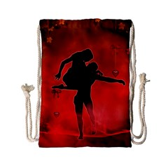 Dancing Couple On Red Background With Flowers And Hearts Drawstring Bag (small) by FantasyWorld7