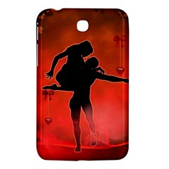 Dancing Couple On Red Background With Flowers And Hearts Samsung Galaxy Tab 3 (7 ) P3200 Hardshell Case  by FantasyWorld7