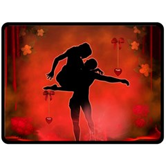 Dancing Couple On Red Background With Flowers And Hearts Double Sided Fleece Blanket (large)  by FantasyWorld7
