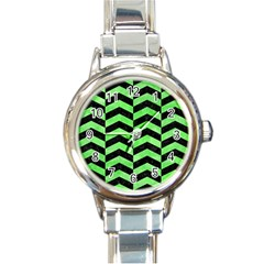 Chevron2 Black Marble & Green Watercolor Round Italian Charm Watch by trendistuff