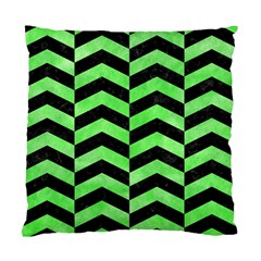 Chevron2 Black Marble & Green Watercolor Standard Cushion Case (one Side) by trendistuff