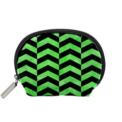 Chevron2 Black Marble & Green Watercolor Accessory Pouches (small)  by trendistuff