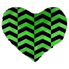 Chevron2 Black Marble & Green Watercolor Large 19  Premium Flano Heart Shape Cushions by trendistuff