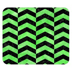 Chevron2 Black Marble & Green Watercolor Double Sided Flano Blanket (small)  by trendistuff