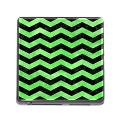 Chevron3 Black Marble & Green Watercolor Memory Card Reader (square) by trendistuff