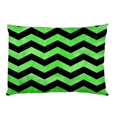 Chevron3 Black Marble & Green Watercolor Pillow Case (two Sides) by trendistuff