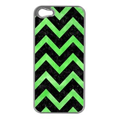 Chevron9 Black Marble & Green Watercolor Apple Iphone 5 Case (silver) by trendistuff