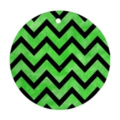 Chevron9 Black Marble & Green Watercolor (r) Ornament (round) by trendistuff