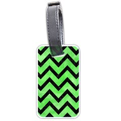 Chevron9 Black Marble & Green Watercolor (r) Luggage Tags (two Sides) by trendistuff