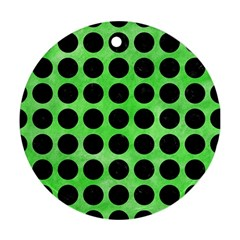 Circles1 Black Marble & Green Watercolor (r) Round Ornament (two Sides) by trendistuff
