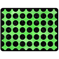 Circles1 Black Marble & Green Watercolor (r) Double Sided Fleece Blanket (large)  by trendistuff