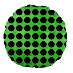 Circles1 Black Marble & Green Watercolor (r) Large 18  Premium Flano Round Cushions by trendistuff