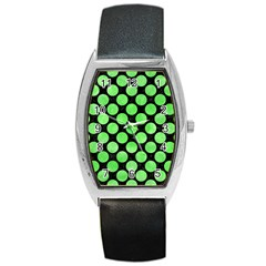 Circles2 Black Marble & Green Watercolor Barrel Style Metal Watch by trendistuff