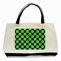 Circles2 Black Marble & Green Watercolor Basic Tote Bag by trendistuff