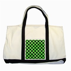 Circles2 Black Marble & Green Watercolor Two Tone Tote Bag by trendistuff