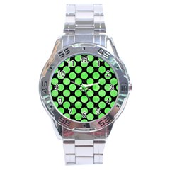 Circles2 Black Marble & Green Watercolor Stainless Steel Analogue Watch by trendistuff
