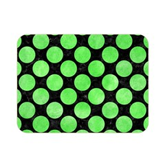 Circles2 Black Marble & Green Watercolor Double Sided Flano Blanket (mini)  by trendistuff
