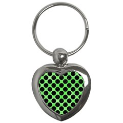 Circles2 Black Marble & Green Watercolor (r) Key Chains (heart)  by trendistuff