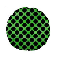 Circles2 Black Marble & Green Watercolor (r) Standard 15  Premium Flano Round Cushions by trendistuff