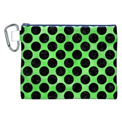 Circles2 Black Marble & Green Watercolor (r) Canvas Cosmetic Bag (xxl) by trendistuff