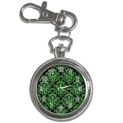 Damask1 Black Marble & Green Watercolor Key Chain Watches by trendistuff