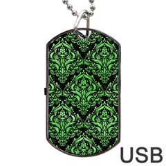 Damask1 Black Marble & Green Watercolor Dog Tag Usb Flash (one Side) by trendistuff