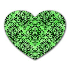Damask1 Black Marble & Green Watercolor (r) Heart Mousepads by trendistuff