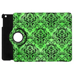 Damask1 Black Marble & Green Watercolor (r) Apple Ipad Mini Flip 360 Case by trendistuff
