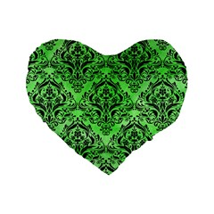 Damask1 Black Marble & Green Watercolor (r) Standard 16  Premium Heart Shape Cushions by trendistuff