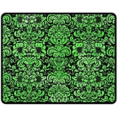 Damask2 Black Marble & Green Watercolor Fleece Blanket (medium)  by trendistuff