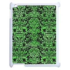 Damask2 Black Marble & Green Watercolor Apple Ipad 2 Case (white) by trendistuff