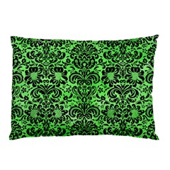 Damask2 Black Marble & Green Watercolor (r) Pillow Case by trendistuff