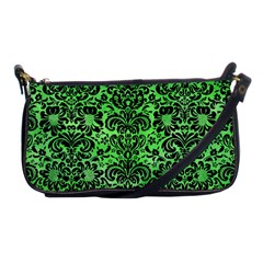 Damask2 Black Marble & Green Watercolor (r) Shoulder Clutch Bags by trendistuff