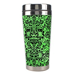 Damask2 Black Marble & Green Watercolor (r) Stainless Steel Travel Tumblers by trendistuff