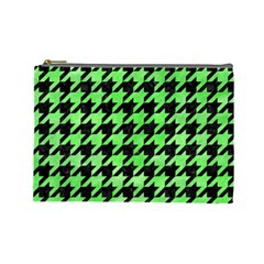 Houndstooth1 Black Marble & Green Watercolor Cosmetic Bag (large)  by trendistuff