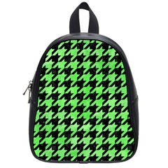 Houndstooth1 Black Marble & Green Watercolor School Bag (small) by trendistuff