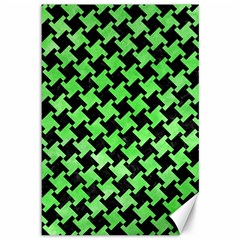 Houndstooth2 Black Marble & Green Watercolor Canvas 12  X 18   by trendistuff
