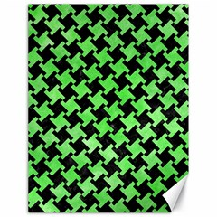 Houndstooth2 Black Marble & Green Watercolor Canvas 18  X 24   by trendistuff