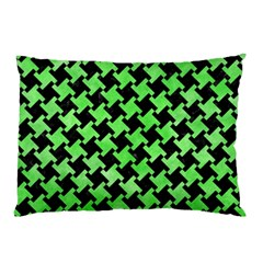 Houndstooth2 Black Marble & Green Watercolor Pillow Case by trendistuff