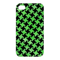 Houndstooth2 Black Marble & Green Watercolor Apple Iphone 4/4s Hardshell Case by trendistuff