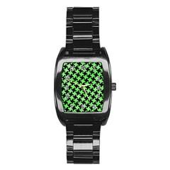Houndstooth2 Black Marble & Green Watercolor Stainless Steel Barrel Watch by trendistuff