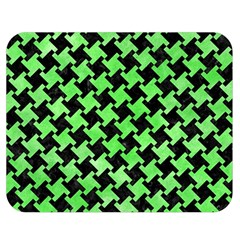 Houndstooth2 Black Marble & Green Watercolor Double Sided Flano Blanket (medium)  by trendistuff