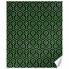 Hexagon1 Black Marble & Green Watercolor Canvas 8  X 10  by trendistuff