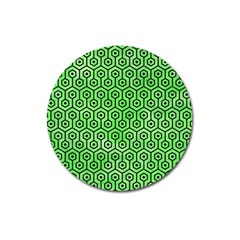 Hexagon1 Black Marble & Green Watercolor (r) Magnet 3  (round) by trendistuff