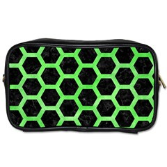 Hexagon2 Black Marble & Green Watercolor Toiletries Bags 2 Side by trendistuff