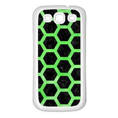 Hexagon2 Black Marble & Green Watercolor Samsung Galaxy S3 Back Case (white) by trendistuff